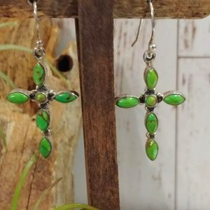 Green Mohave Turquoise Cross Earrings
